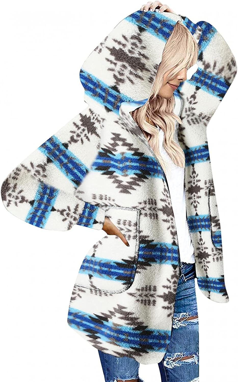 Mingleigo Womens Long Sleeve Solid Fuzzy Fleece Open Front Hooded Cardigans Jacket Coats Outwear with Pocket Womens Cardigan
