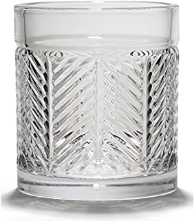 Double Old Fashioned by Ralph Lauren Home - Herringbone Single Crystal Glass Made in Germany 11.1 Ounce