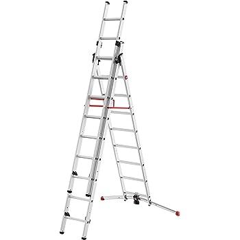 Hailo S100 ProfiLOT 9309-507 - Escalera combinada de Aluminio con Sistema Lot, 2 x 9 + 1 x 8 peldaños, Sistema Lot, Ajuste de Escalera, hasta 150 kg, Color Plateado: Amazon.es: Bricolaje y herramientas