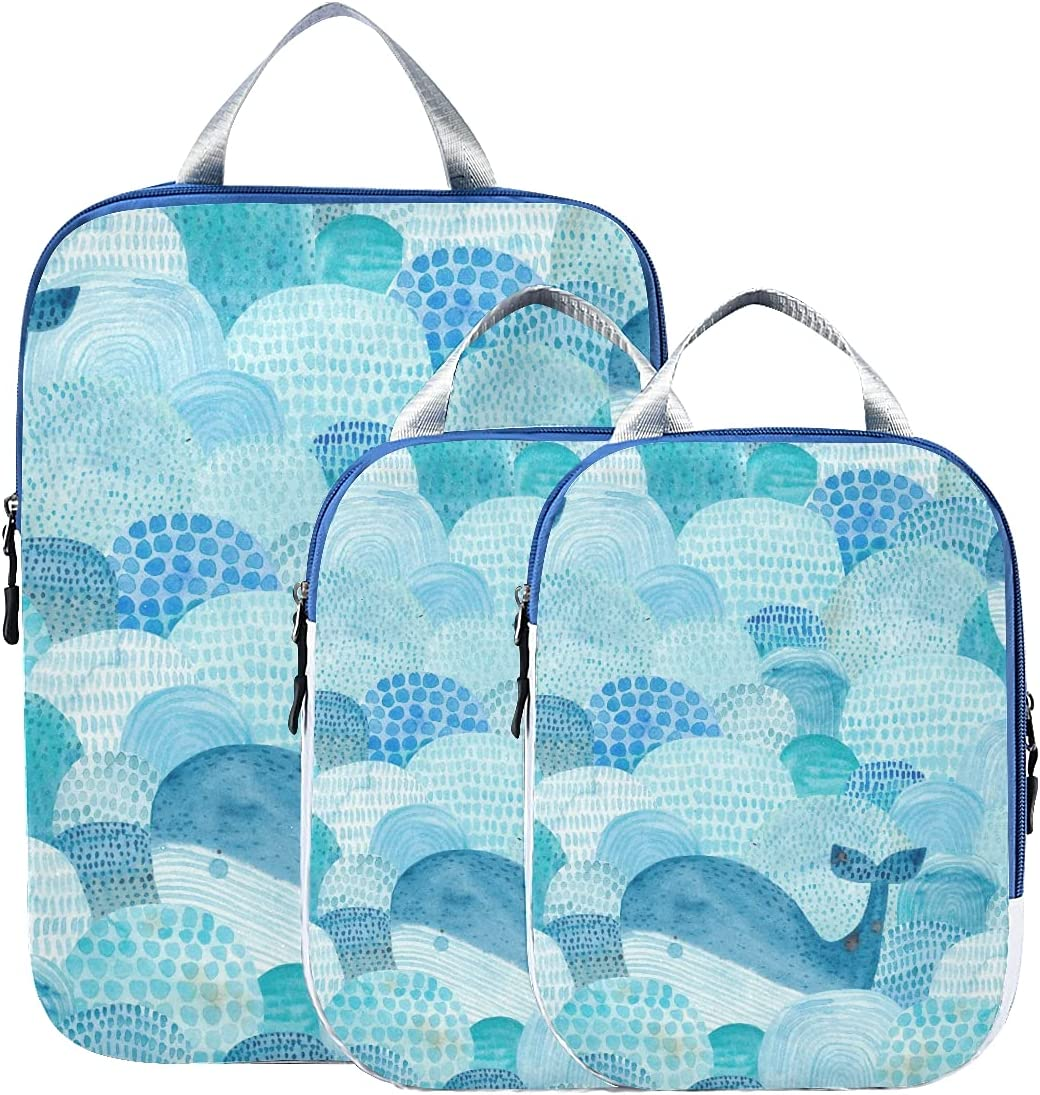 Max 69% OFF susiyo Blue Waves Whale Animal Packing of Set Bag 3 Cube Travel Ranking TOP8