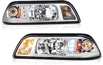 VIPMOTOZ LED Strip Headlight & Turn Signal Corner Lamp Assembly For 1987-1993 Ford Mustang - Metallic Chrome Housing, Driver and Passenger Side
