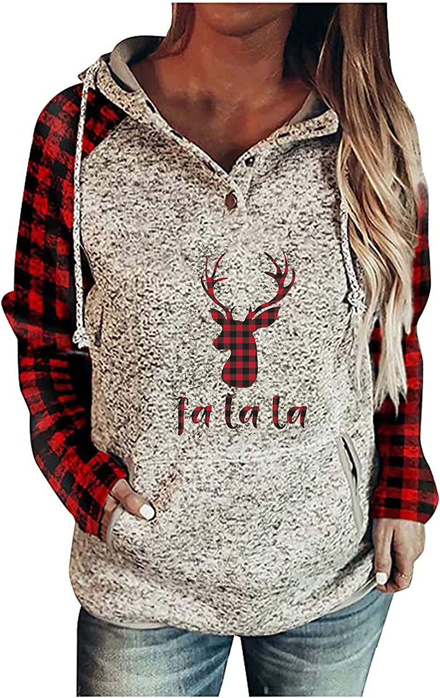 Women's Sweaters - Pullover Buttons Christmas Elk la la la Print Plaid Splicing Hoodie Long Sleeve Comfortable Tops Red
