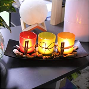 EVIDECO SET2TROPICAL6008 Decorative Tropical Leaf Design Glass Candle Holder Set of 2 White Washed Almond Green
