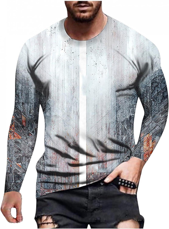 Long Sleeve Tee Shirts for Men Graffiti Muscle Sport Pullover Workout Athletic Crewneck Sweatshirt Tee Shirts