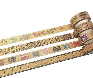 Vintage Ticket Stamp Post Mark Kraft Paper Tape Set of 4 Rolls Assorted –Diary Notebook Scrapbook Decorative DIY Japanese Masking Adhesive Sticky Paper Washi Tape Set (Width: 15mm)