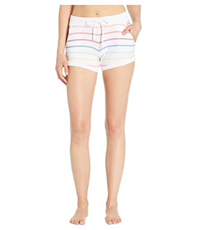 Chaser Cozy Knit Drawstring Lounge Shorts (Rainbow Stripe) Women