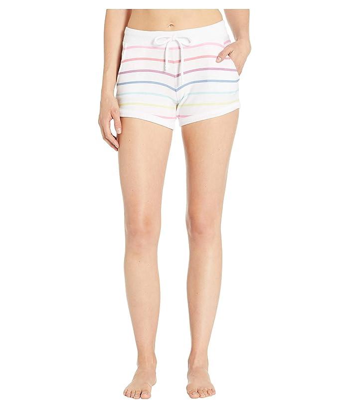 Chaser Cozy Knit Drawstring Lounge Shorts (Rainbow Stripe) Women