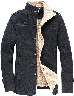 Vcansion Men's Winter Fleece Windproof Jacket Wool Outerwear Single Breasted Classic Cotton Jacket Coats Bronze