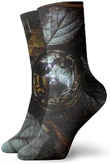 Calcetines deportivos deportivos para hombre Calcetines deportivos transpirables de poliéster con hojas plateadas con brillo de bola de plata para hombre 11.8 pulgadas (30 cm)