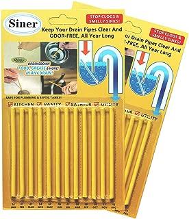 Siner Drain Cleaner Sticks, Sink Deodorizer As Seen On TV, Sink Freshener Cleaner Sticks to Keep Odor Free for Bathroom, Kitchen, Toilet, Shower drain (Lemon, 24 Pcs)