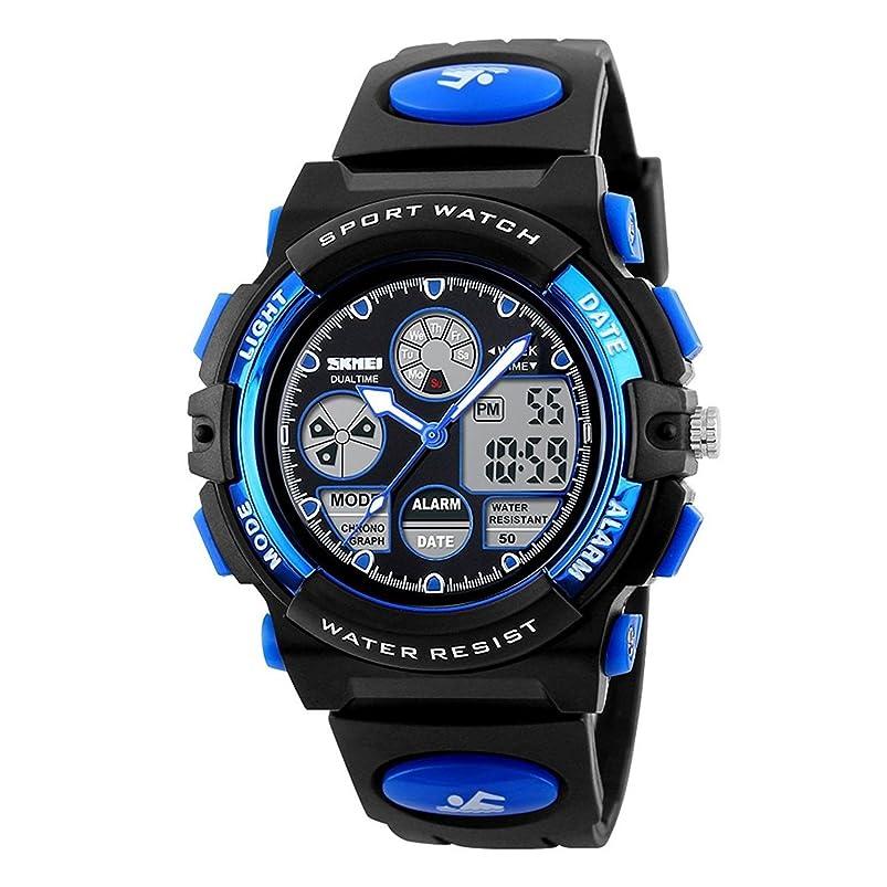 拒否寝室早くKidsスポーツデジタル腕時計?–?Boys防水アウトドアアナログウォッチアラーム、マルチ機能Wrist Watches for Childrens