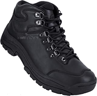Mens Waterproof Hiking Boots Mid-Top Non-Slip Insulated Work Boots Leather Mountaining Boots for Trekking Trails Walking