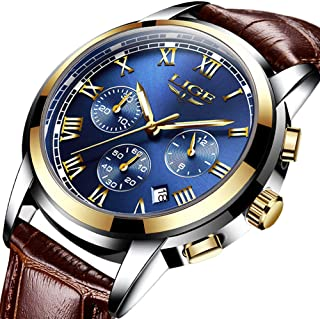 LIGE Mens Watches Waterproof Chronograph Stainless Steel Analog Quartz Watch Men Luxury Brand Fashion Dress Business Wristwatch