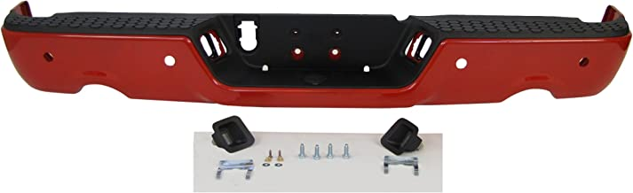 Painted Red Rear Step Bumper Full Assy With Dual Exhaust Cut-Outs With Sensor Hole For 2009-2013 Dodge Ram 1500
