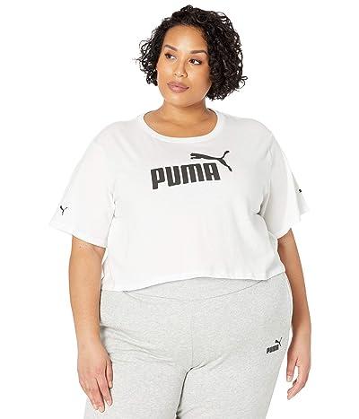 PUMA Plus Size Essential Cropped Logo Tee (PUMA White) Women