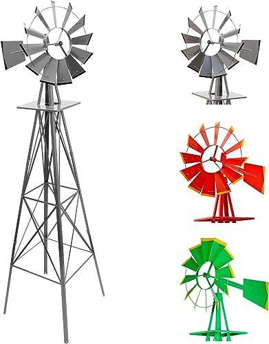Maxstore Moulin à Vent Style américain 245 cm - Éolienne de Jardin Disponible en 3 Couleurs: Rouge, Gris ou Vert