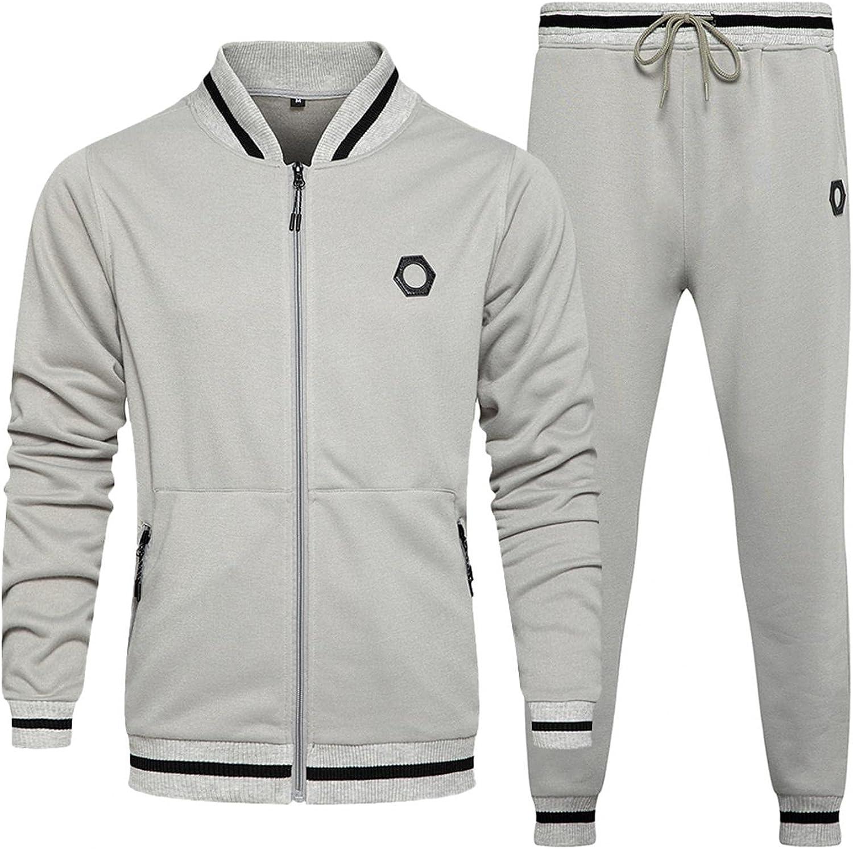 LEIYAN Mens Casual Tracksuit Colorblock Long Sleeve Zip Up Hoodie Jackets Sweatpants Athletic Jogging Running Suits