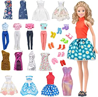 E-TING Lot 15 Items = 5 Sets Fashion Casual Wear Clothes/Outfit with 10 Pair Shoes for Girl Doll Random Style (Casual Wear Clothes + Short Skirt)