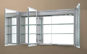 4E - Armadietto a Specchio con Strisce in Acrilico, Struttura in Alluminio e Ante a Specchio, 120 x 70 cm