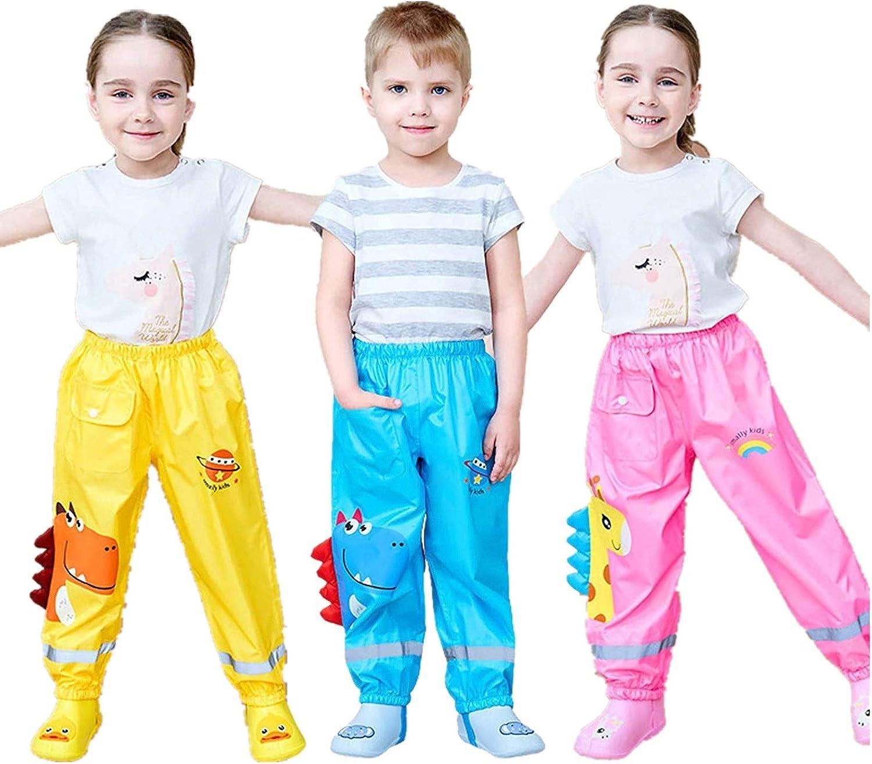 BBYY Kids Rain Wear Reusable Rain Pants Dinosaur 3D Cartoon Rain Pants for Boys and Girls 2-12 Years Old