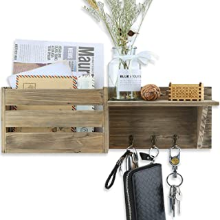 Key and Mail Holder, Rustic Wooden Wall Mounted Envelope Organizer with 3 Hooks and Floating Shelf, Farmhouse Hanger with Letter/Bill Compartment for Decorative - 17x5.8 inch