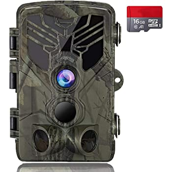 """Suntekcam Trail Camera 24MP 1080P IP66 Waterproof Game Camera for Wildlife Monitoring with 2.4"""" LCD 120° Detection Motion Activated Night Vision Hunting Camera"""