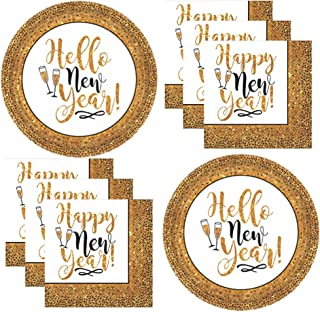 New Years Eve Essential Disposable Dinnerware Party Pack Supplies For New Years Party For 25 Black and Gold Hello New Year Paper Plates and Napkins