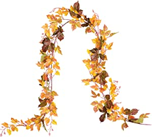 DearHouse 2 Pack Fall Garland Maple Leaf, 6.5 Ft/Piece Hanging Vine Garland Artificial Autumn Foliage Garland Thanksgiving Decor for Home Wedding Fireplace Party Christmas