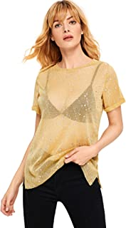 dd0313f6597e0 WDIRA Women s Glitter Sheer See Through Short Sleeve Mesh Top Tee Blouse