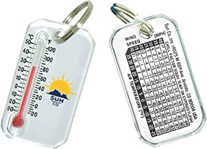 Sun Company Original Zip-o-gage - Zipperpull Thermometer for Jacket, Parka, or Pack   Outdoor Thermometer with Windchill Chart on Back