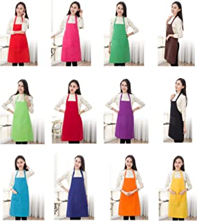 TSD STORY Total 12 PCS Plain Color Bib Apron Adult with 2 Front Pocket (Mixed Colour)