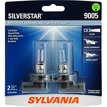 SYLVANIA - 9005 SilverStar - High Performance Halogen Headlight Bulb, High Beam, Low Beam and Fog Replacement Bulb, Brighter Downroad with Whiter Light (Contains 2 Bulbs)
