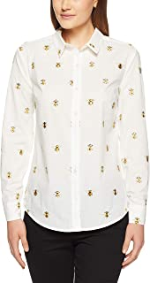 French Connection Women's BEE Embroidered Button Through Shirt, Summer White/Multi