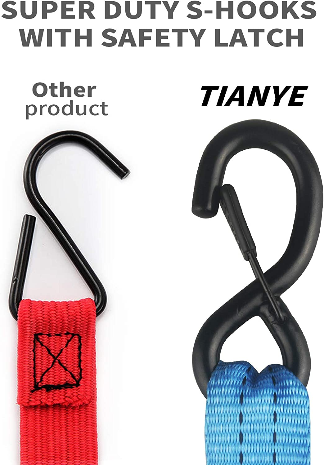 Ratchet Straps, 5,208 Break Strength 1 x 14 Cargo Tiedowns w//Padded Handles Black Heavy Duty Tie Down Set 4PK for Moving Securing Cargo