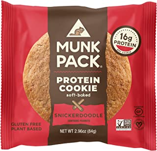 Munk Pack Snickerdoodle Protein Cookie with 16 Grams of Protein   Soft-Baked   Vegan   Gluten, Dairy and Soy Free   12 Pack   2.96oz
