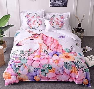 ZMZKK Pink Unicorn Bedding Set Full 200x230cm Kids Girls Duvet Cover Set 3pcs with 2 Pillow Shams Microfiber