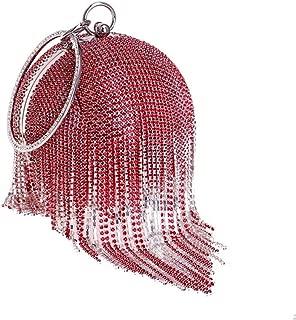 Redland Art Women's Fashion Sparkly Tassel Round Mini Clutch Bag Wristlet Evening Handbag Catching Purse Bag for Wedding Party (Color : Red)