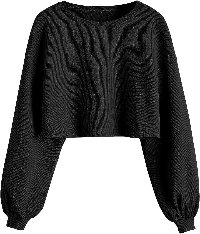 ROMWE Women's Casual Basic Crop Tops Crew Neck Long Sleeve Raw Hem Crop Sweatshirt