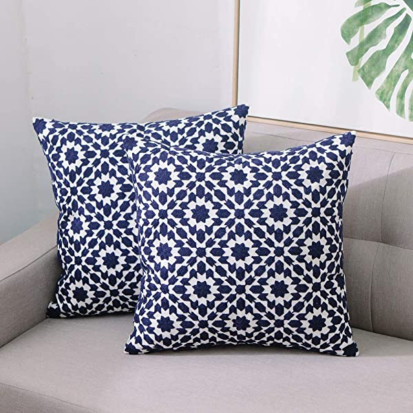 TEWENE Throw Pillow Cases Cotton Linen Embroidery Throw Pillow Covers 18x18 Decorative Throw Pillow Coves Blue Cushion Cover For Couch Sofa Bed Bedroom 2pcs 18 X18 Square