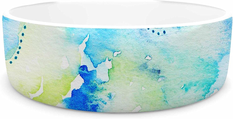 KESS InHouse Li Zamperini Deep bluee Sea  Teal Watercolor Pet Bowl, 7
