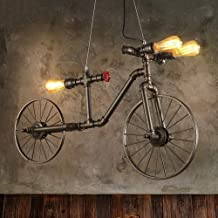 3 Lights Industrial Bicycle Ceiling Pendant Light Retro Loft Metal Large Chandelier Pendant Lighting Antique Bicycle Water...