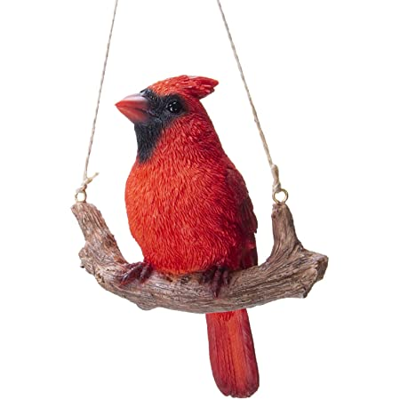 Pacific Giftware Hanging Red Cardinal Bird Perching On Branch Resin Figurine Sculpture Home Kitchen