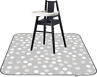 """51"""" Waterproof Splat Mat for Under High Chair, Anti-Slip Floor Splash Mat, Portable Feeding Mat,Grey Play Mat and Table Cloth for Art/Crafts, pet/Animal Friendly Ariond Kids Washable"""