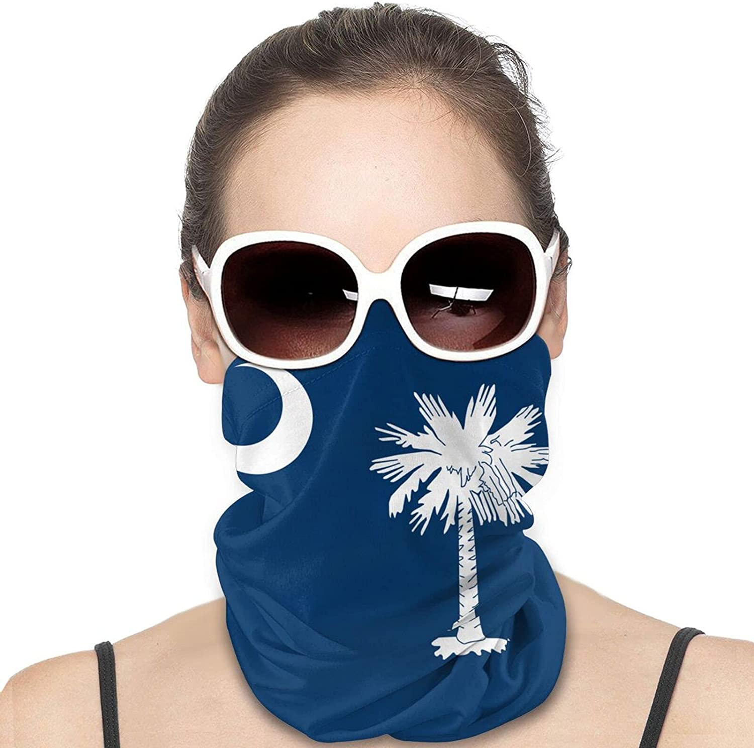 South Carolina State Flag Round Neck Gaiter Bandnas Face Cover Uv Protection Prevent bask in Ice Scarf Headbands Perfect for Motorcycle Cycling Running Festival Raves Outdoors