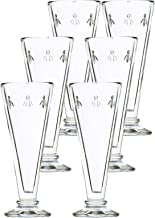 La Rochère Set of 6, 5.1 oz. Bee Décor Clear Champagne Flutes