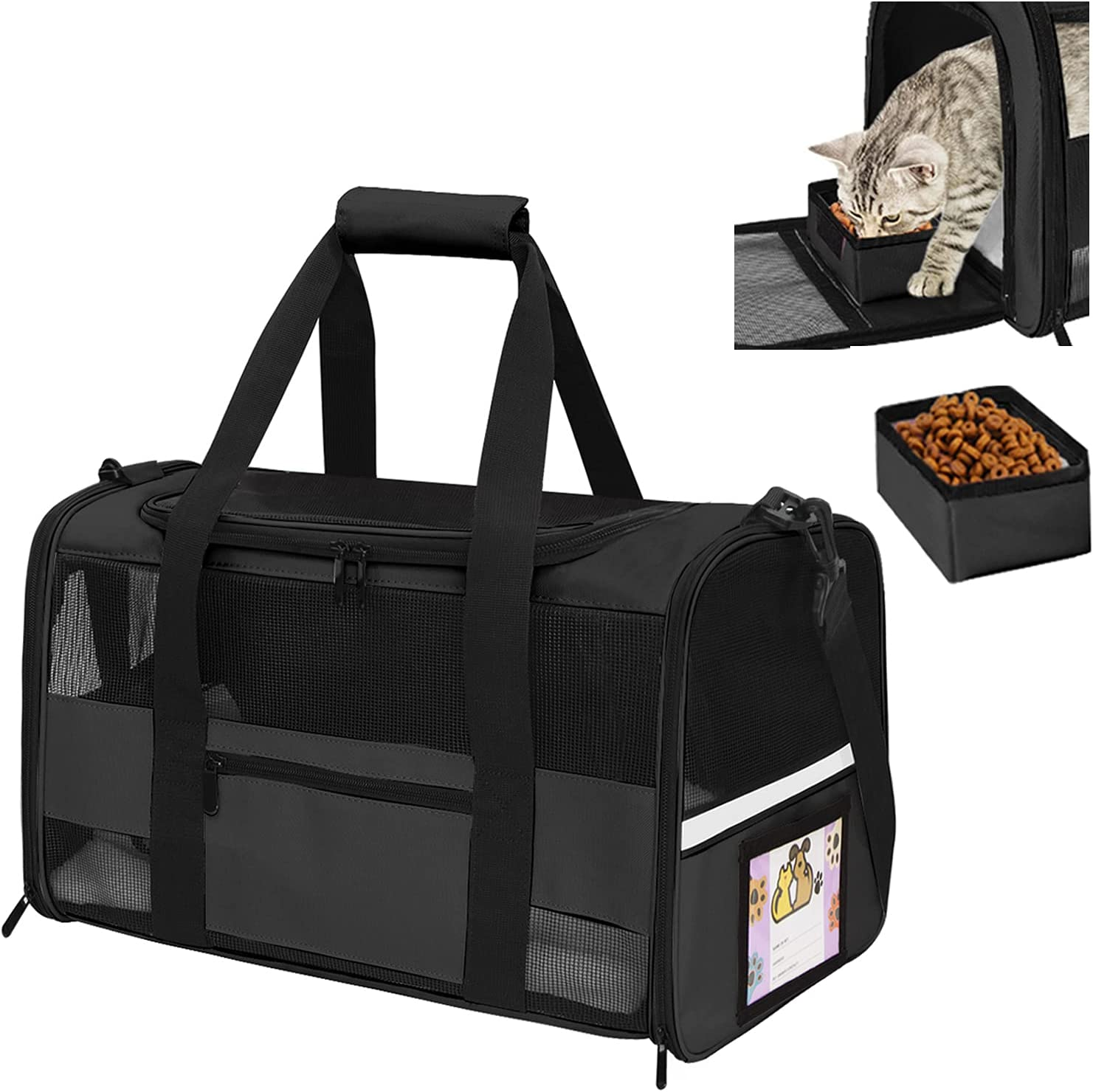 Sapine Pet Carrier Airline Approved ID Card Refl SEAL limited Same day shipping product with Bowl