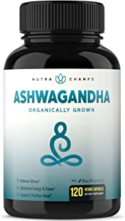 Organic Ashwagandha 1200mg - 120 Vegan Capsules w/BioPerine - Premium Root Powder Supplement for Stress & Anxiety Relief, Mood & Thyroid Support - Ashwaganda w/Black Pepper Extract