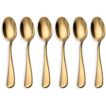 Gold Dessert Spoons 304 Stainless Steel Spoons 6 PCS 6.1in Sundae Ice Cream Spoon Cake Coffee Tea Spoons Suitable for Daily Use