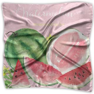 Watercolor Watermelon Womens Large Square Satin Head Scarf Silk Like Neck Scarves