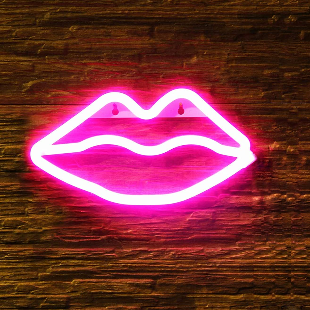 OYE HOYE Decorative LED Lip Shaped Neon Night Light, Neon Sign Operated by Battery/USB Idea for Home Decoration,House Bar Pub Hotel Beach Recreational, Valentine's Day, Christmas